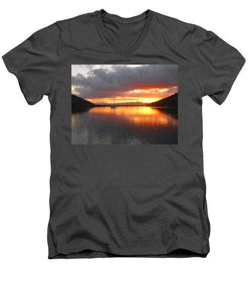Men's V-Neck T-Shirt featuring the digital art Sailboats At Sunrise In Puerto Escondido by Anne Mott