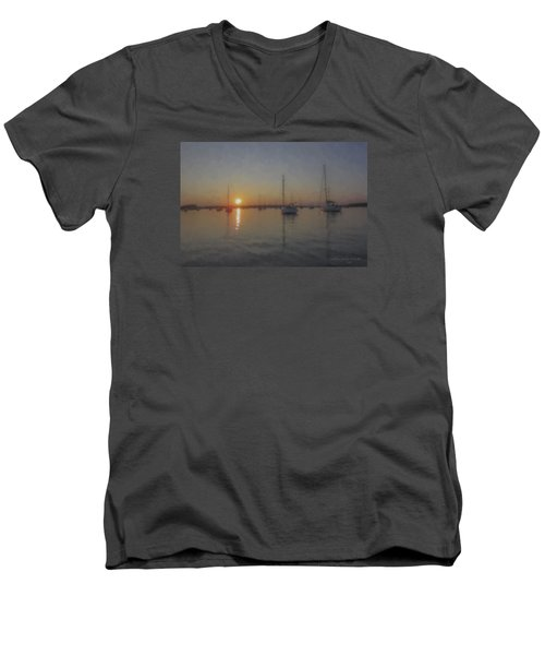 Sailboats At Sunset Men's V-Neck T-Shirt