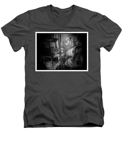 Sailboats Berthed In The Fog Men's V-Neck T-Shirt