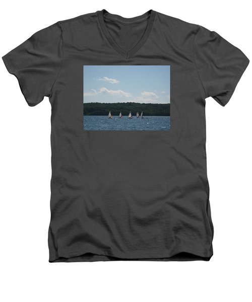 Sailboats In Eagle Harbor Men's V-Neck T-Shirt