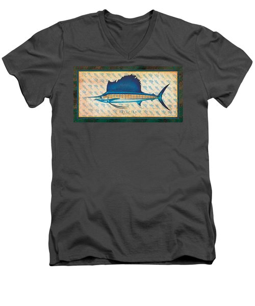 Men's V-Neck T-Shirt featuring the painting Sailfish by Jon Q Wright