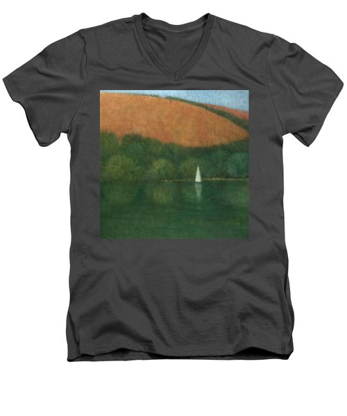 Sailing At Trelissick Men's V-Neck T-Shirt by Steve Mitchell