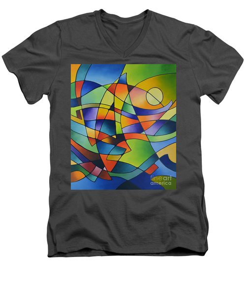 Sailing Away, Canvas Two Men's V-Neck T-Shirt by Sally Trace