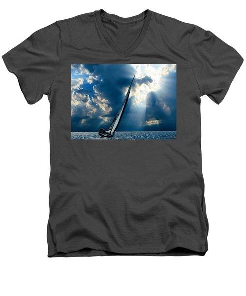 Sailing Boats At Sea , Photography , Men's V-Neck T-Shirt