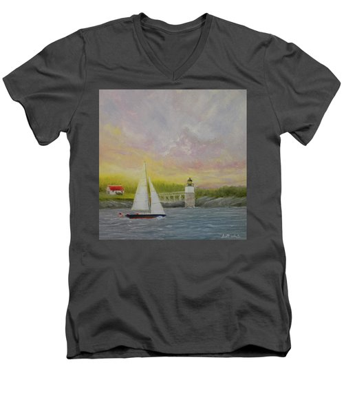 Sailing By Ram Island Men's V-Neck T-Shirt