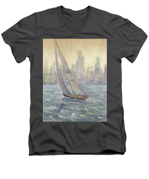 Sailing Chicago Men's V-Neck T-Shirt