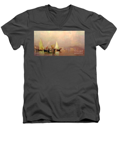 Men's V-Neck T-Shirt featuring the painting Sailing Fishermen Boats In Naples by Rosario Piazza