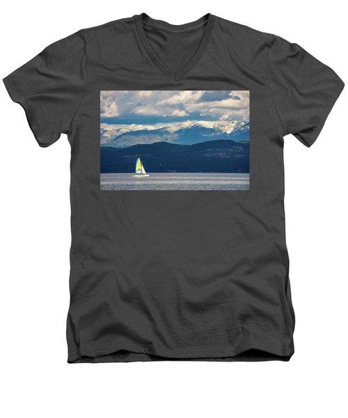 Sailing Flathead Lake Men's V-Neck T-Shirt