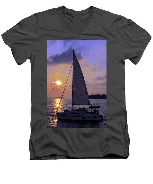 Sailing Home Sunset In Key West Men's V-Neck T-Shirt