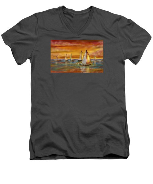 Men's V-Neck T-Shirt featuring the digital art Sailing Into The Sunset by Darren Cannell