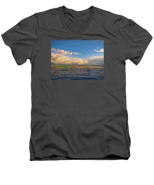 Sailing On Galilee Men's V-Neck T-Shirt