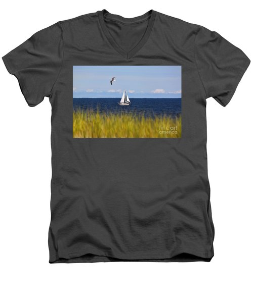 Sailing On Long Beach Island Men's V-Neck T-Shirt