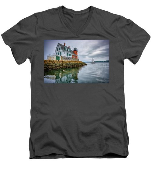 Men's V-Neck T-Shirt featuring the photograph Sailing Past The Breakwater by Rick Berk