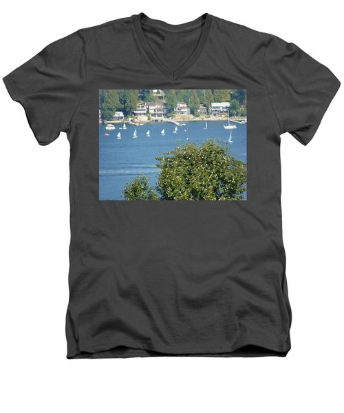 Men's V-Neck T-Shirt featuring the painting Sailing by Rod Jellison