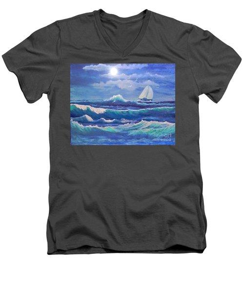 Sailing The Caribbean Men's V-Neck T-Shirt by Holly Martinson