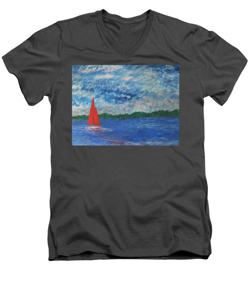 Sailing The Wind Men's V-Neck T-Shirt by John Scates