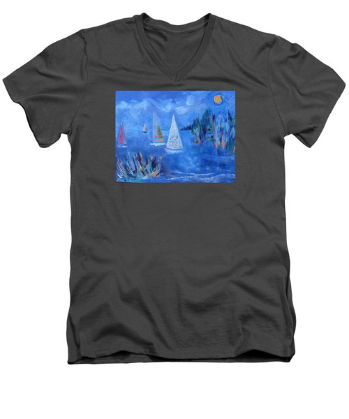Sails And Sun Men's V-Neck T-Shirt by Betty Pieper