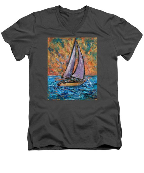 Men's V-Neck T-Shirt featuring the painting Sails Up by Xueling Zou