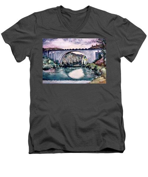 Men's V-Neck T-Shirt featuring the painting Saint Bridge by Geni Gorani