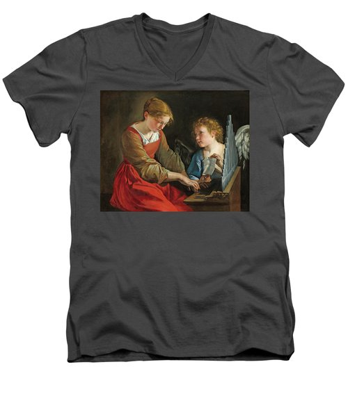 Saint Cecilia And An Angel Men's V-Neck T-Shirt