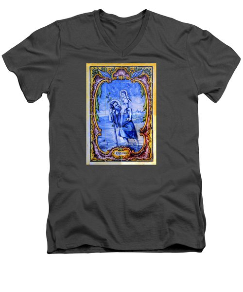 Saint Christopher Carrying The Christ Child Across The River - Near Entrance To The Carmel Mission Men's V-Neck T-Shirt