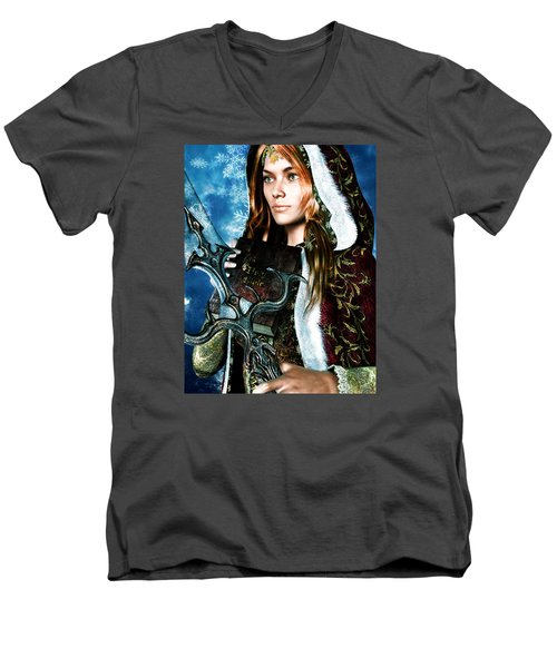 Men's V-Neck T-Shirt featuring the painting Saint Dymphna 5 by Suzanne Silvir
