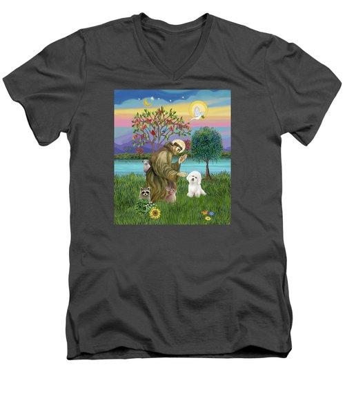 Saint Francis Blesses A Bichon Frise Men's V-Neck T-Shirt