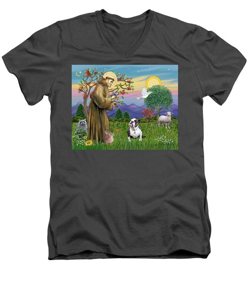 Saint Francis Blesses A Brown And White English Bulldog Men's V-Neck T-Shirt