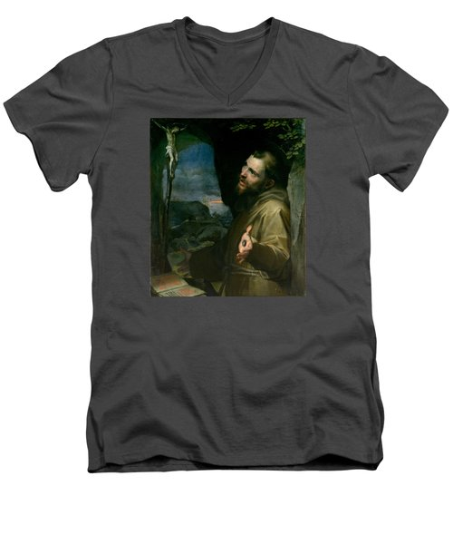 Men's V-Neck T-Shirt featuring the painting Saint Francis by Federico Barocci