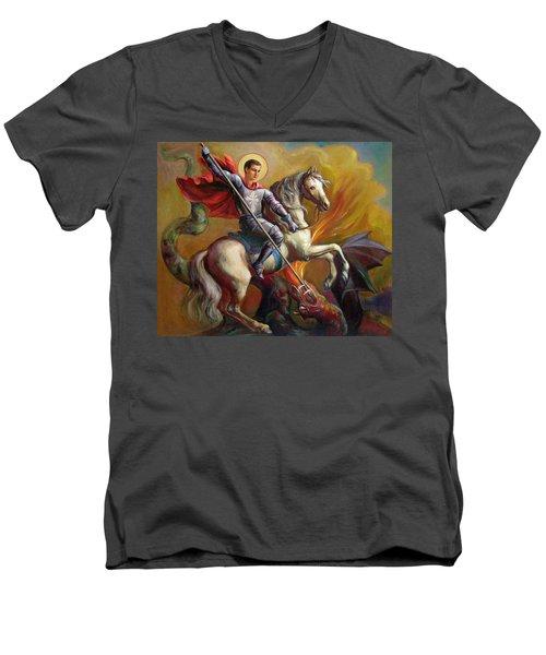 Saint George And The Dragon Men's V-Neck T-Shirt