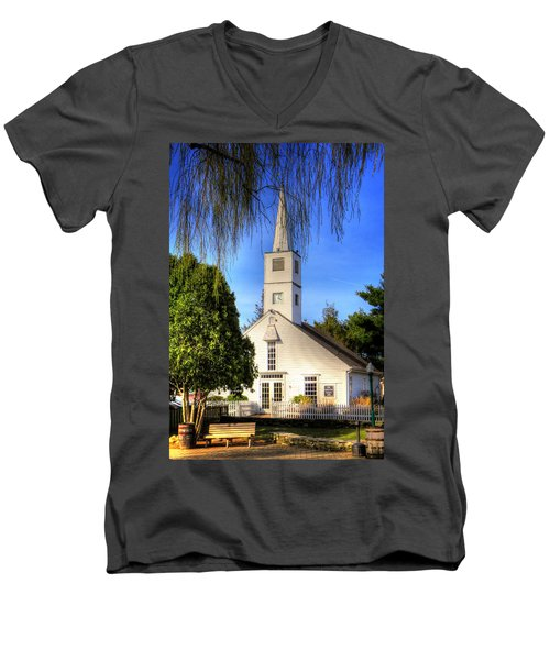 Men's V-Neck T-Shirt featuring the photograph Saint Mathais Angelican Church by Tom Prendergast