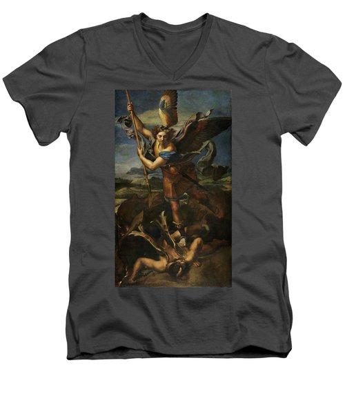 Saint Michael Defeats Satan Men's V-Neck T-Shirt
