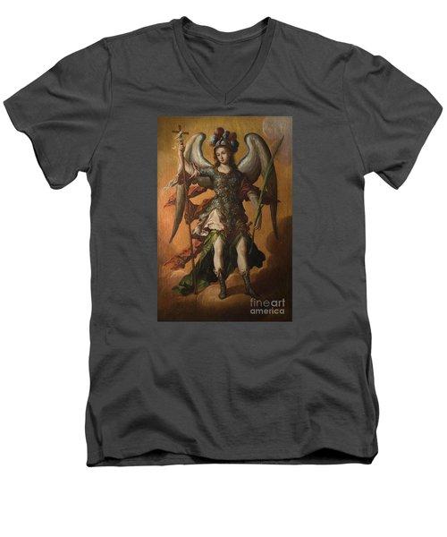 Saint Michael The Archangel Men's V-Neck T-Shirt by Celestial Images