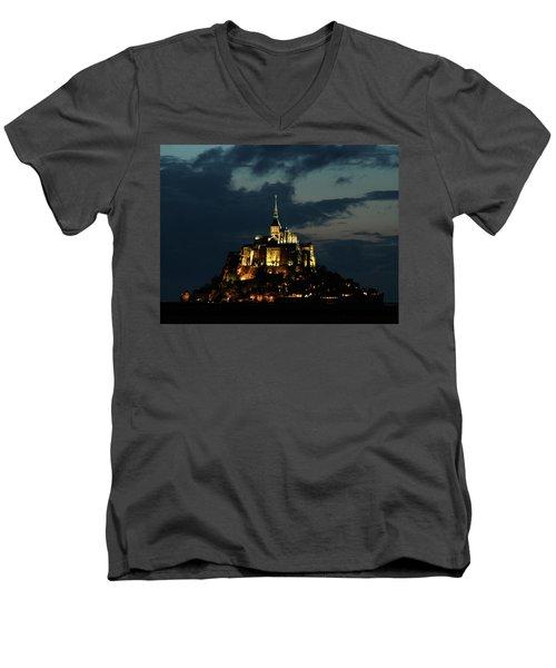 Saint Michel Mount After The Sunset, France Men's V-Neck T-Shirt by Yoel Koskas