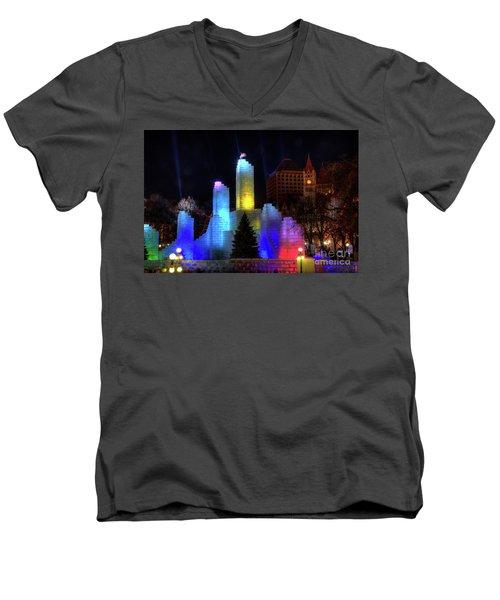 Saint Paul Winter Carnival Ice Palace 2018 Lighting Up The Town Men's V-Neck T-Shirt
