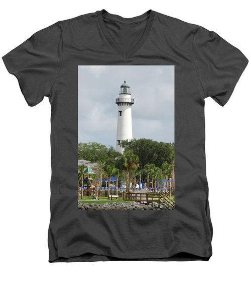 Saint Simons Island Light Men's V-Neck T-Shirt