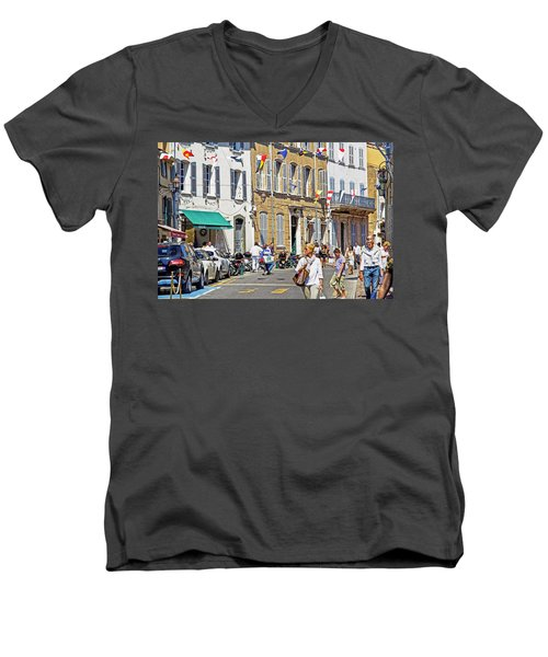 Saint Tropez Moment Men's V-Neck T-Shirt by Keith Armstrong