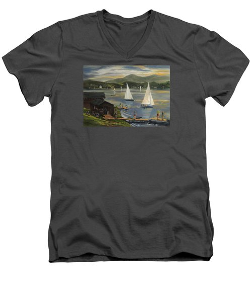 Sailing At Lake Morey Vermont Men's V-Neck T-Shirt by Nancy Griswold