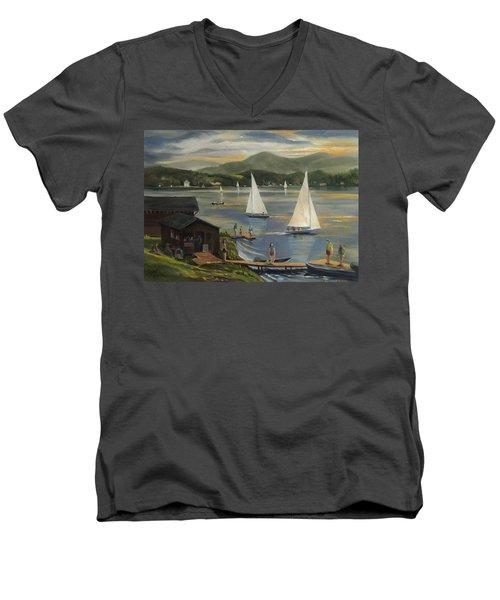 Sailing At Lake Morey Vermont Men's V-Neck T-Shirt