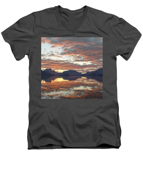 Men's V-Neck T-Shirt featuring the digital art Salmon Lake Sunset by Mark Greenberg
