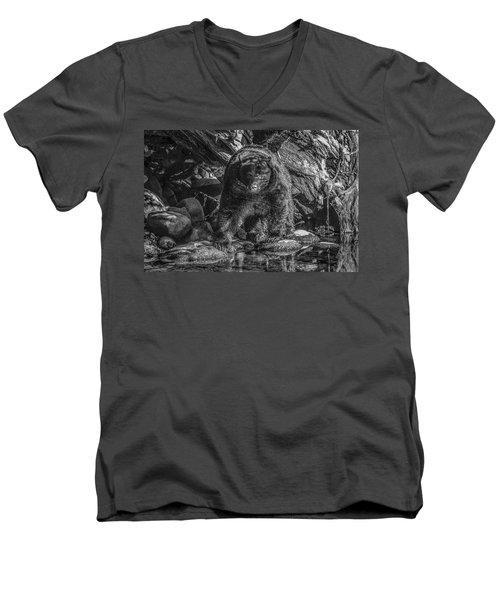 Salmon Seeker Black Bear  Men's V-Neck T-Shirt