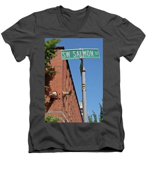 Salmon Through A Building Men's V-Neck T-Shirt