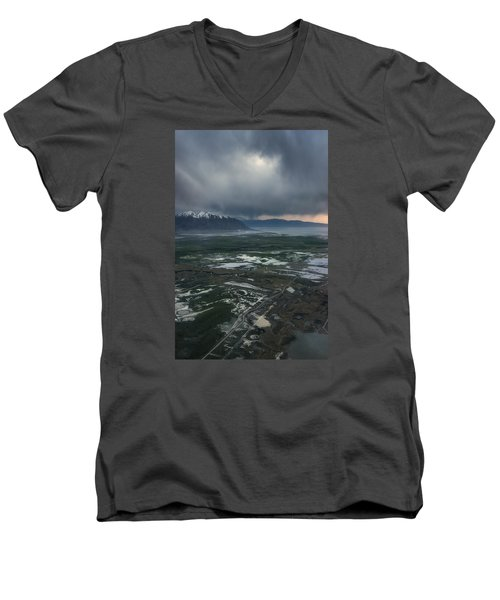 Men's V-Neck T-Shirt featuring the photograph Salt Lake Drama by Ryan Manuel