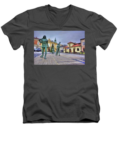 Men's V-Neck T-Shirt featuring the photograph Salt Miners Of Wieliczka, Poland by Juli Scalzi
