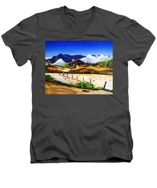 Men's V-Neck T-Shirt featuring the painting Salt Works - Port Alma by Therese Alcorn