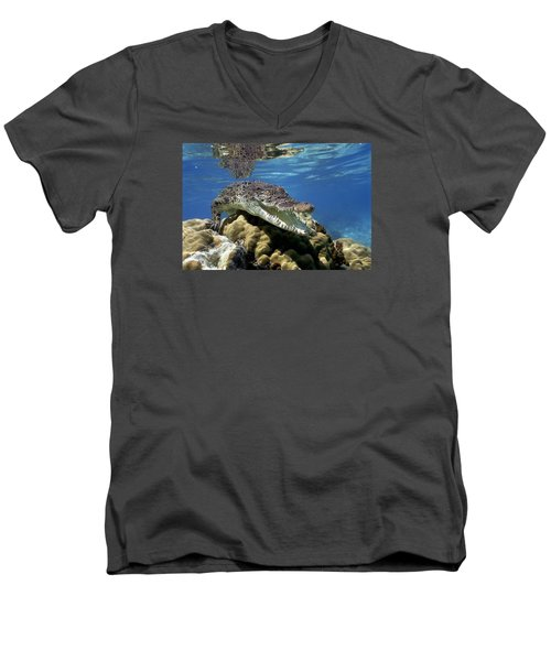Saltwater Crocodile Smile Men's V-Neck T-Shirt by Mike Parry