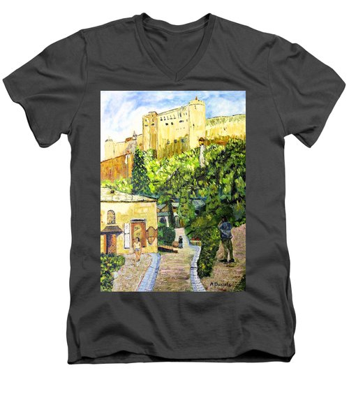 Men's V-Neck T-Shirt featuring the painting Saltzburg by Michael Daniels
