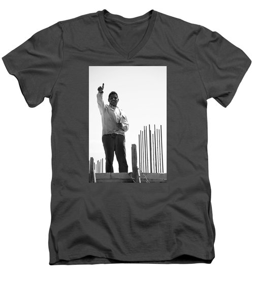 Men's V-Neck T-Shirt featuring the photograph Saludo Ako Sayo by Jez C Self