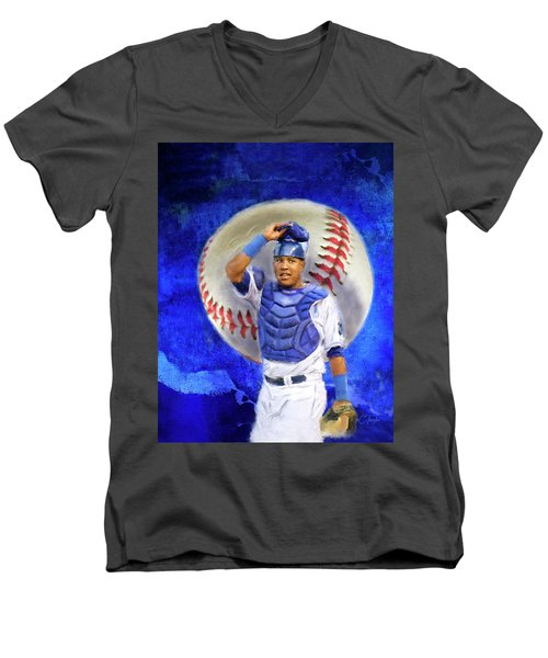 Men's V-Neck T-Shirt featuring the mixed media Salvador Perez-kc Royals by Colleen Taylor