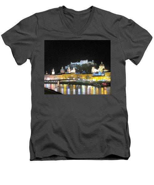 Salzburg At Night Men's V-Neck T-Shirt by Betty Buller Whitehead